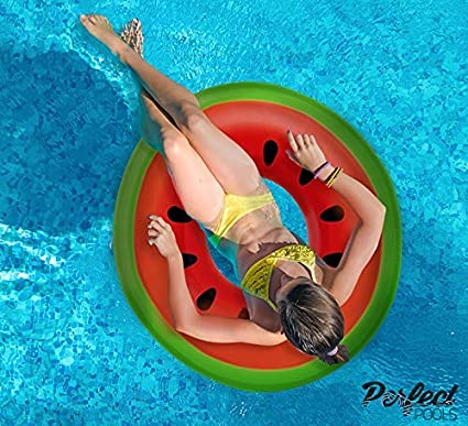 Official \'Perfect Pools\' Inflatable Giant Watermelon Rubber Ring | Swimming  Pool Float 110cm