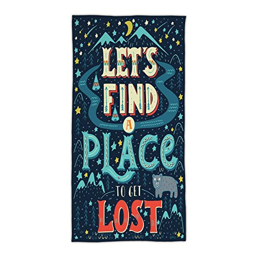 "31.49""W x 62.99""L Cotton Microfiber Bath/Hand Towel,Adventure,Lets Find a Place and Get Lost Lettering on Vibrant Native American Landscape,Multicolor,Ultra Soft,For Hotel Spa Beach Pool Bath"