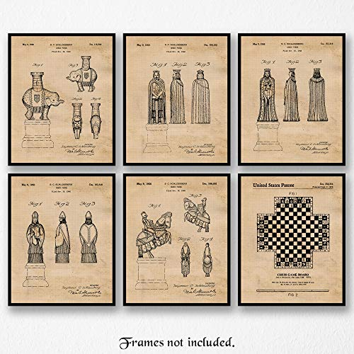 Vintage Chess Game Patent Poster Prints, Set of 6 (8×10) Unframed Photos, Wall Art Decor Gifts Under 20 for Home, Office, Man Cave, Garage, College Student, Teacher, Coach, Las Vegas & Game Fan