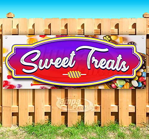 (Sweet Treats 13 oz Heavy Duty Vinyl Banner Sign with Metal Grommets, New, Store, Advertising, Flag, (Many Sizes Available))