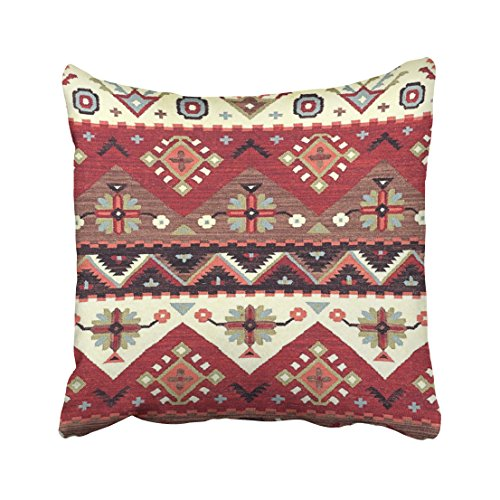 Musesh western southwest motif tribal pattern print Cushions Case Throw Pillow Cover For Sofa Home Decorative Pillowslip Gift Ideas Household Pillowcase Zippered Pillow Covers 16X16Inch