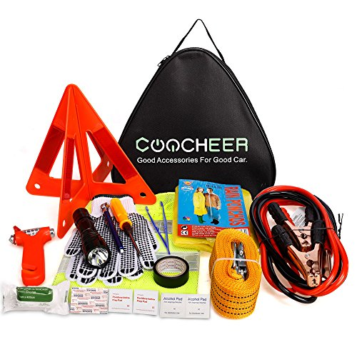 Accident Kit (COOCHEER Car Emergency Kit, Multifunctional Roadside Assistance 24-In-1 Car Safety Kit with Jumper Cables,Tow Rope,Triangle,Flashlight,Tire Pressure Gauges,Safety Hammer etc(24 in 1, Black))