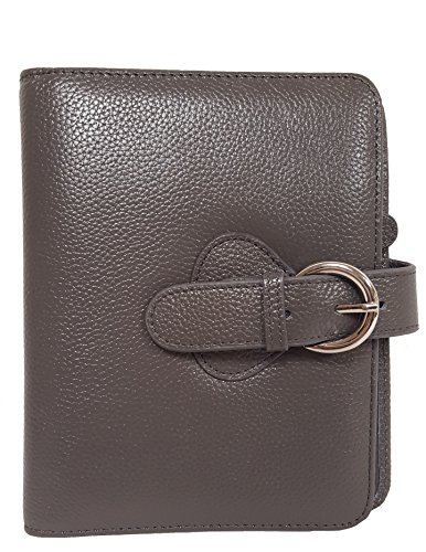 "Franklin Covey Leather ""Ava"" Compact Binder, Charcoal (45810)"