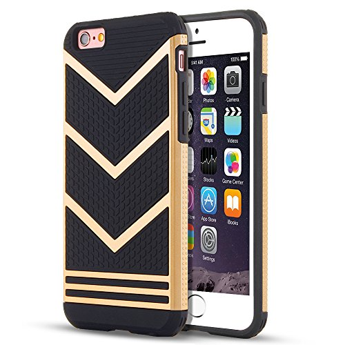 Gold Iphone Case - iPhone 6s Case, LOEV Anti-slip Shockproof Armor iPhone 6s Protective Case Ultra Slim Fit Non-slip Grip Rubber Bumper Case Cover for Apple iPhone 6 & iPhone 6s 4.7 inch - Gold Chevron Pattern