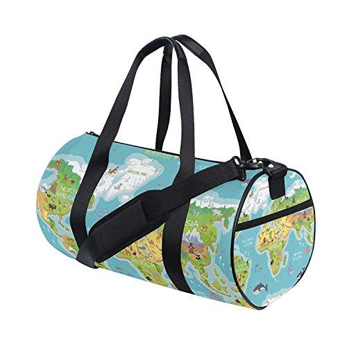 Gym Duffel Bag World Map Animals Ocean Flora Sports Lightweight Canvas Travel Luggage Bag