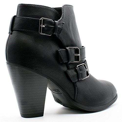 Strap Shoes Dress Boots Women's Heel Booties Fashion Buckle Ankle Chunky Block Black 4Xa6Zq