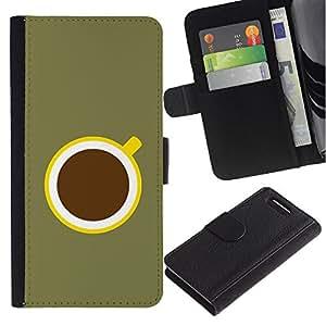 Be-Star la tarjeta de Crédito Slots PU Funda de cuero Monedero caso cubierta de piel Sony Xperia Z3 Compact ( Coffee Minimalist Olive Green Yellow )