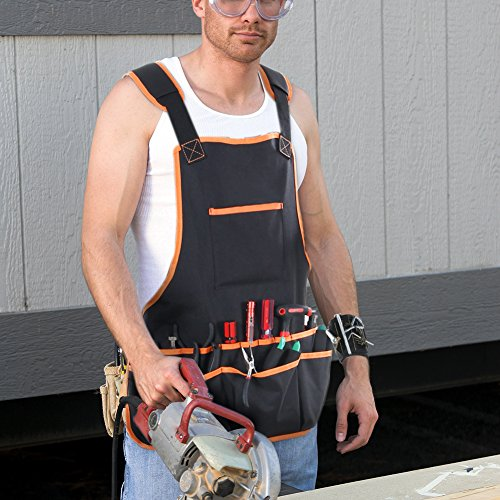 Bingogous Tool Apron Woodworking Apron, Heavy Duty Canvas Work Apron with 16 Pockets for Holding Tools, Cross-Back Straps Adjustable Size by Bingogous (Image #5)