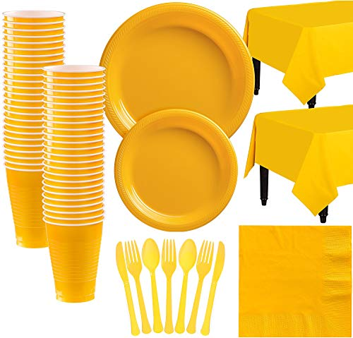 Amscan Sunshine Yellow Plastic Tableware Kit for 50 Guests, Party Supplies, Includes Table Covers, Plates, Cups and -