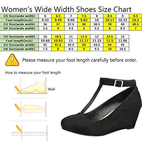 Women's Heel Jane Width Luoika Black Pump Mary Strap Wedge Wide Shoes T dqnAgw