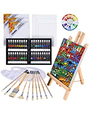 56pcs Oil Painting Set, Ohuhu Artist Painting Set with Wood Table Top Easel, 36 Colors Oil Paint Tubes, Bristle Art Painting Brushes, Canvas, Canvas Panels, Paint Palette, Art Supplies for Kids and Adults