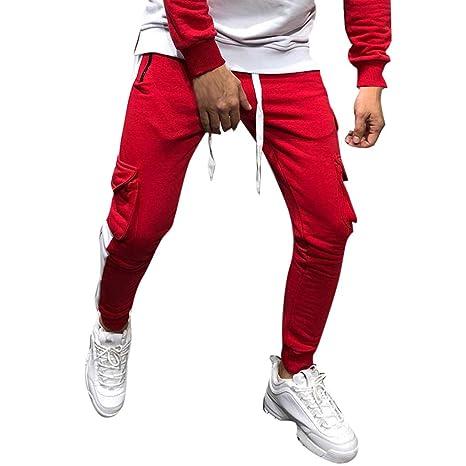 AMhomely - Pantalones de chándal para Hombre, Color espolvoreado ...