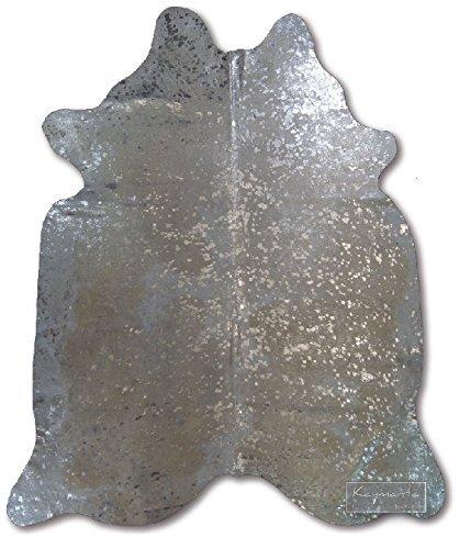 Silver on White   Devore Metallic Brazilian Cowhide Rug (Brazilian Cowhide Rugs)