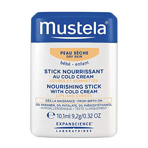 Mustela Nourishing Stick with Cold Cream, Baby Lip and Face Moisturizer, with Natural Avocado Perseose and Ceramides, 0.32 Ounce (Best Face Cream For Cold Weather)