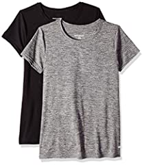 An Amazon brand - This pack of two sporty tees features a flattering fit and subtle logo at the hip for casual-cool workout style