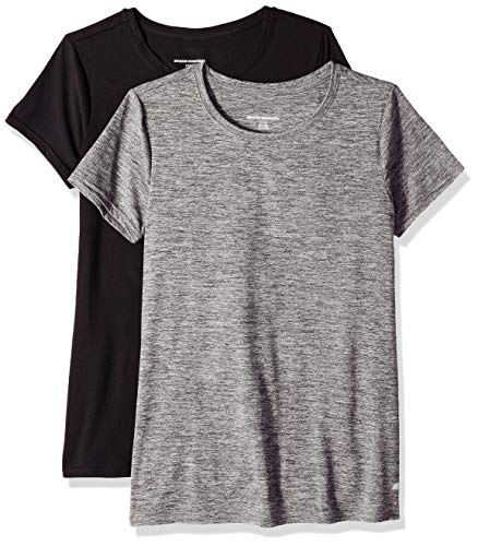 Basic Fit Tee - Amazon Essentials Women's 2-Pack Tech Stretch Short-Sleeve Crewneck T-Shirt, -black space dye/black, Small