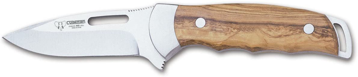 Cudeman Hunting Fixed Blade Knife 226-L with Olive Wood Handle Blade 9 cm with Brown Leather case. Limited Edition