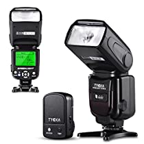 Tycka Basics Speedlight Flash with 2.4G wireless trigger remote, LCD display, M Multi S1 S2 flash modes, overheating protection for Canon Nikon Sony Panasonic Olympus Pentax DSLR Cameras with standard hot-shoe TK205