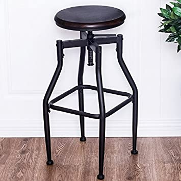 COSTWAY Vintage Bar Stool Metal Adjustable Swivel Armless Bistro Pub Wood Top Counter Height Retro Finish Industrial Style Barstool