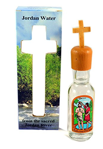 Holy Water From the Jordan River Where Jesus Was Baptized with Olive Wood Cross and Certificate (Was Jesus Baptized In The Jordan River)