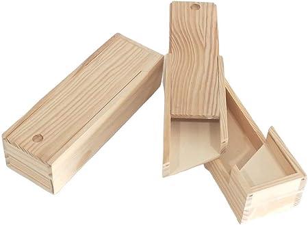 Caja plumier doble. En madera de pino en crudo. Para decorar. Manualidades. Medidas (ancho*fondo*alto): 23 * 7,5 * 5,5 cm.: Amazon.es: Hogar
