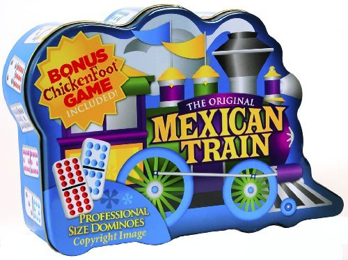 Dominoes Mexican Train Double 12 Set _ With Color DOTS in Storage Tin