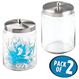 mDesign Bathroom Vanity Glass Storage Organizer Canister Jars for Q tips, Cotton Swabs, Cotton Rounds, Cotton Balls, Makeup Sponges, Bath Salts - Pack of 2, Tall, Clear/Brushed Stainless Steel