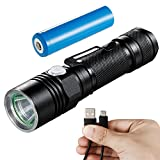 LED Flashlight Rechargeable, Akale LED Torch light IP65 Water-Resistant, Pocket-Sized Torch (for Camping and Hiking) with Super Bright 500 Lumens CREE LED, 5 Light Modes, 18650 Battery Included
