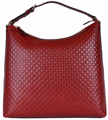 (Gucci Women's Micro GG Guccissima Leather Purse Hobo Handbag (449732/Red))