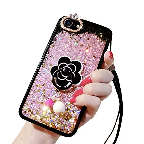 iPhone 6s Cute Case, iPhone 6 Liquid Case, Soft Silicone Black Rubber Liquid Quicksand Flowing Floating Bling Glitter Sexy Makeup Case for Girls with Ring Stand Holder (Pink)