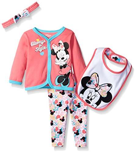 Disney Baby Girls' Minnie Mouse 4-Piece Cardigan, Pant, Bib, and Headband Set