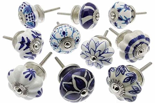 Zoya's 10 Mixed Blue Shabby Chic Ceramic Cupboard Knobs Drawer Pull Kitchen K-203A