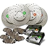 Front and Rear Premium Drilled and Slotted Brake Rotors and severe Duty Metallic Pads BAXMBKJ29106MDS