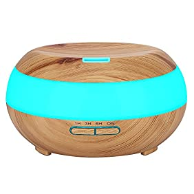 KEDSUM 300ml Aroma Essential Oil Diffuser,Wood Grain Aromatherapy Diffuser Ultrasonic Cool Mist Humidifier with 7 Color LED Lights,4 Timer Settings,Waterless Auto Shut-Off, for Office Home Bedroom