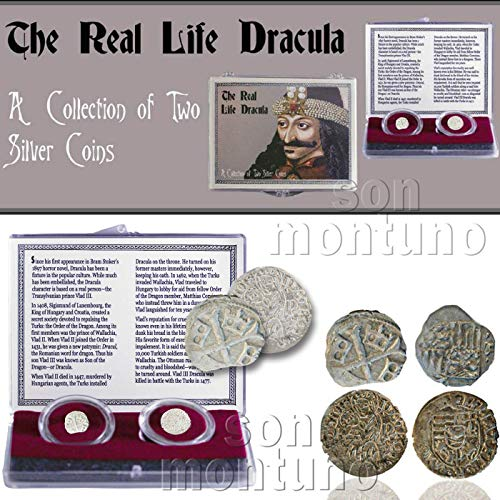 THE REAL LIFE DRACULA: A Collection of Two Antique Silver Coins in Clear Box with Certificate of Authenticity - VLAD IMPALER parvus denar Matthias -