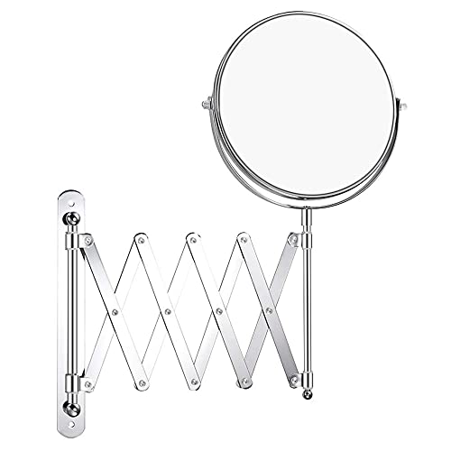 Double-Sided Magnifying Makeup Mirror, 7 Inch Diameter 1X 5X Wall Mounted Extension Adjustable Circle Rotating Function Vanity Makeup Mirror for Bedroom Bathroom Hotel, Chrome