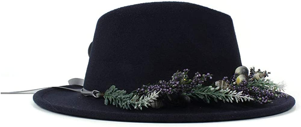 L.Z.H Cap Womens Fedora Hat with Lavender Flower Ribbon Classical Wide Brim Felt Floppy Cloche Cap Chapeau Cotton Autumn Winter Cap Hat