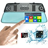 """HD Front and Rear Dash Camera   1296P Mirror Dash Cam Pro 13MP   5"""" Touch Dual View Dashcam with SONY Night Vision, Backup Parking and Loop Recording   BONUS Hardwire Kit"""