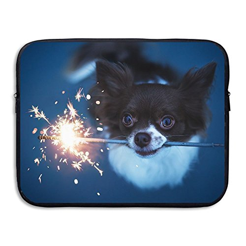 Fonsisi Laptop Storage Bag Cute Dog Play Fireworks Portable Waterproof Laptop Case Briefcase Sleeve Bags Cover