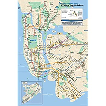amazon com new york city subway map poster print nyc poster nyc map print manhattan new york