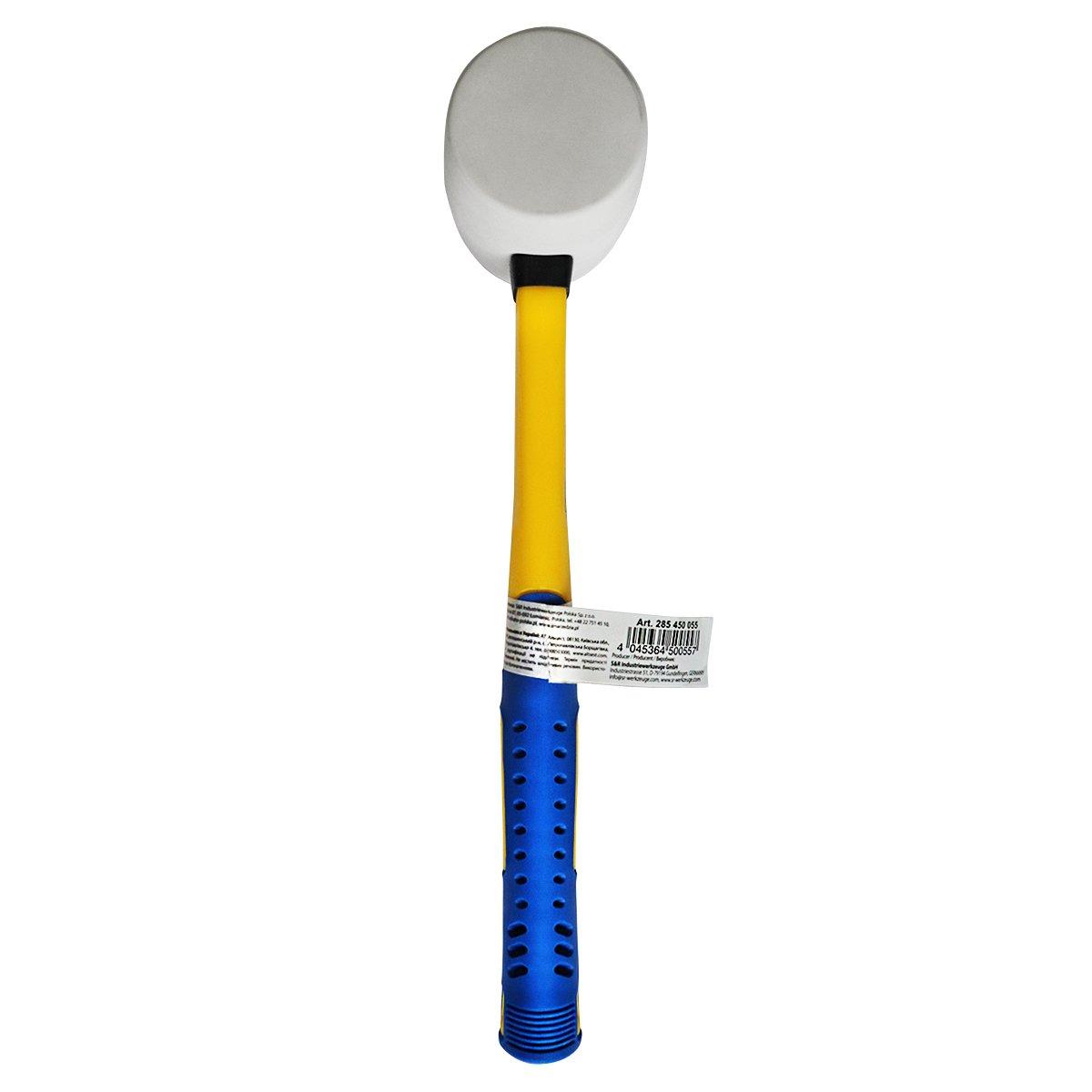 Manche en Fibre de verre et rev/êtement en PVC 230 g diam/ètre 45 mm S/&R Maillet // Marteau en Caoutchouc Blanc