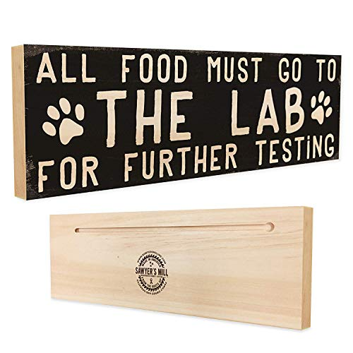 Sawyer's Mill | All Food Must Go to The Lab for Further Testing - Handmade Wood Sign - 4 in x 12 in x 3/4 in Thick - Solid ()