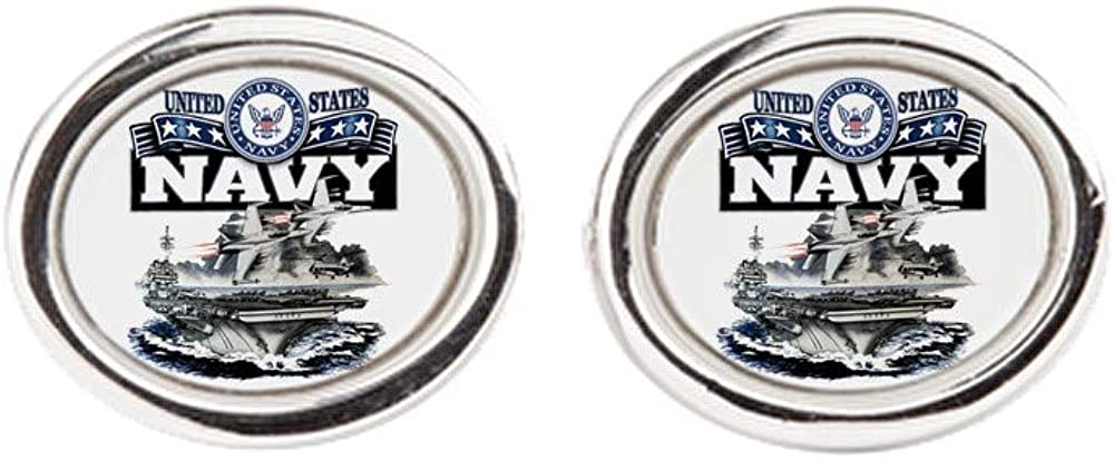 US Navy Aircraft Carrier and Jets Royal Lion Cufflinks Oval
