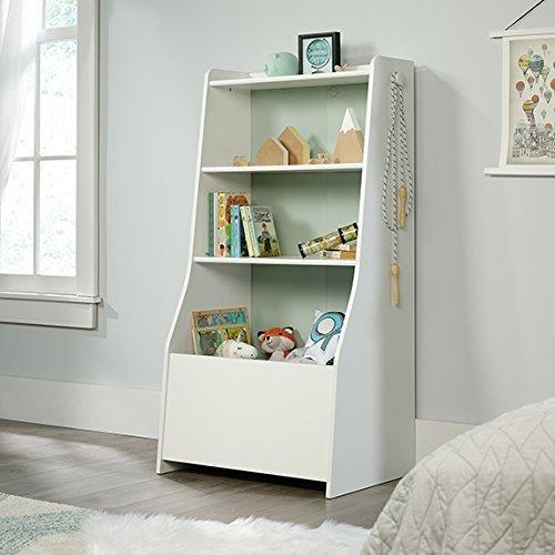 Sauder Pinwheel 2 Shelf Kids Bin Bookcase in Soft White by Sauder