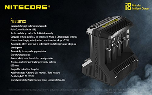 NITECORE i8 Eight Bays Smart Battery Charger for Li-ion/IMR/Ni-MH/Ni-Cd 26650 22650 18650 18490 18350 16340 RCR123 14500 AA AAA AAAA C D USB with EdisonBright BBX3 Battery Carry case by EdisonBright (Image #3)
