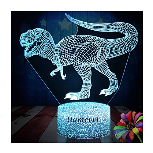 Dinosaur Night Lights for Kids T Rex Christmas Gift Birthday Indoraptor Toy 3D Illusion Lamp Dino Gifts for Boys Home Bedroom Party Supply Decoration 7 Color Blue Velociraptor Raptor (dino3) (D Trex)