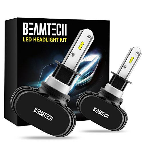 BEAMTECH H1 LED Headlight Bulb, 50W 6500K 8000Lumens Extremely Brigh CSP Chips Conversion Kit by BEAMTECH