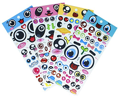 Big Eyes Stickers with Lips, Glasses, Beard, Ties PVC Foam Eyes Decals for Craft Card Making - 140 - Heart Glasses Shape Face