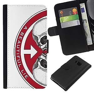 KLONGSHOP // Tirón de la caja Cartera de cuero con ranuras para tarjetas - UNA VIDA HERMOSA - HTC One M7 //