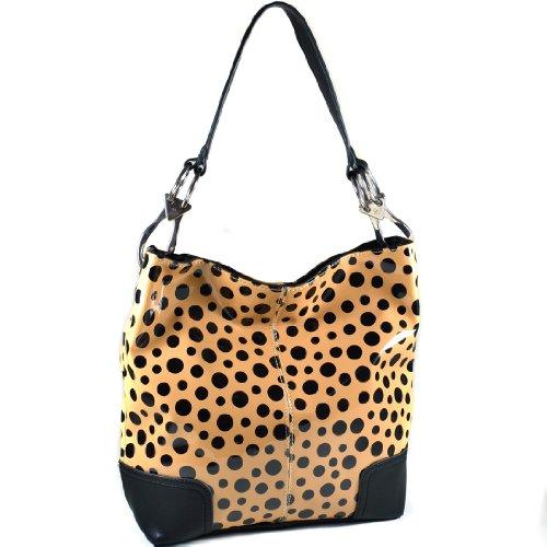 Dasein Hobo Shoulder Bag Bucket Handbag with Big Snap Hook Hardware (2686-Tan/bk spot)